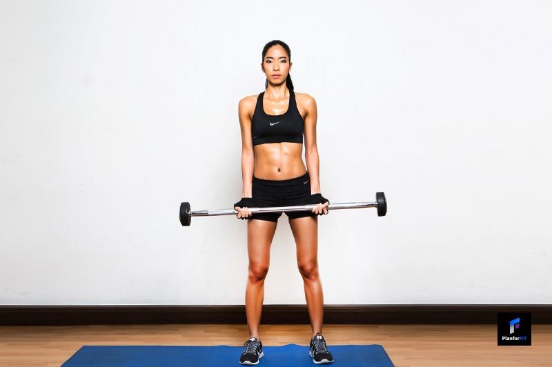 Women Barbell Curl Start