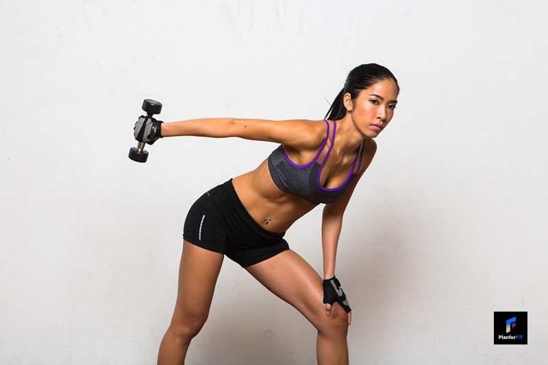 Women Dumbbell Kick Back Finish