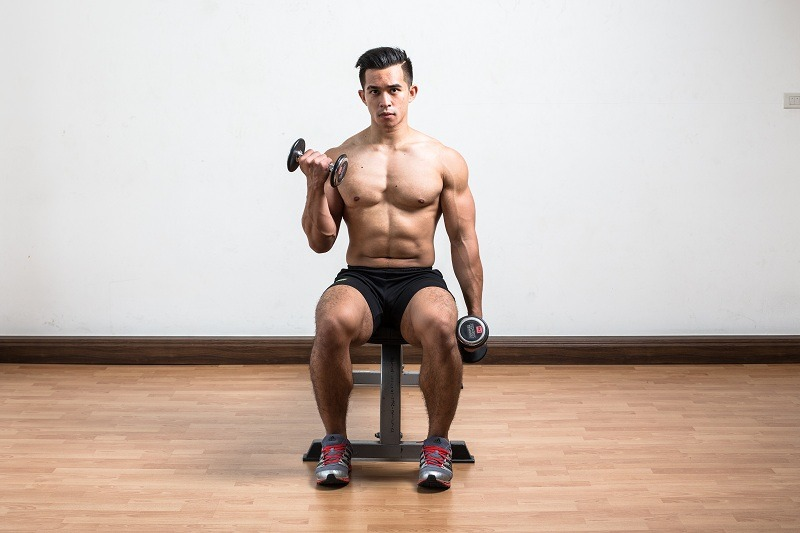 Seated Alternate Dumbbell Curl Finish