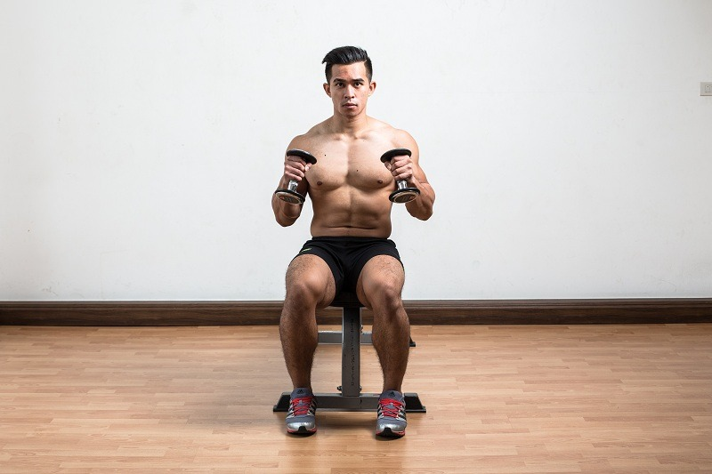 Seated Dumbbell Hammer Curls Finish
